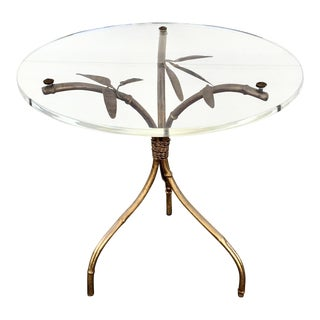 Italian Lucite Top Gilt Leaves Side Table