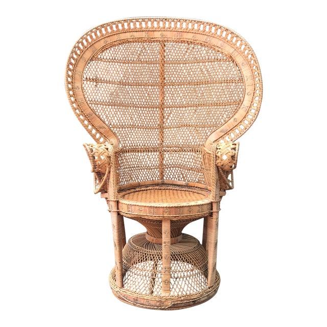 Vintage Wicker Peacock Fan Chair - Image 1 of 7