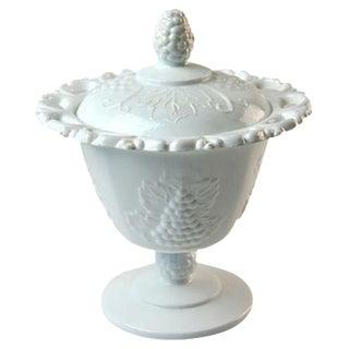 White Milk Glass Covered Dish