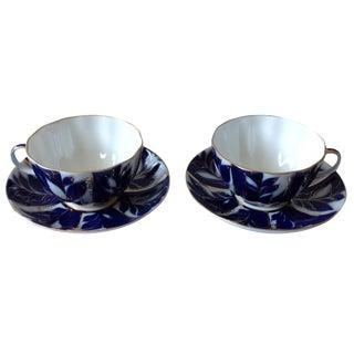 White, Blue & Gold Porcelain Tea Cups - Set of 4