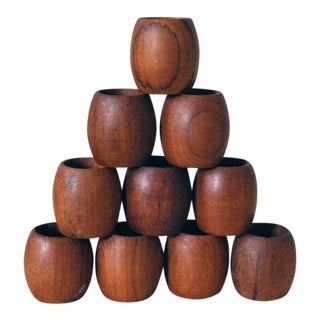 Vintage Danish Modern Teak Napkin Rings - Set of 10