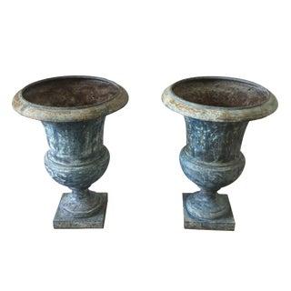 Iron Garden Urns - A Pair