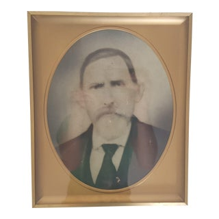 Vintage Black and White Framed Photograph of a Man