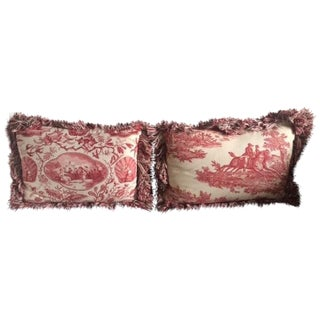 Vintage French Country Red Toile Pillows - A Pair