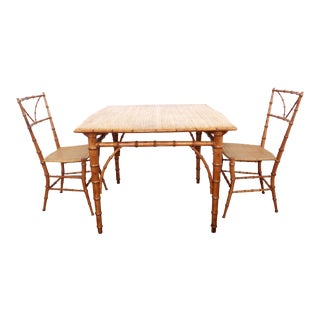 Bamboo Card or Dining Table With Woven Chairs - Set of 3