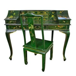 Green Chinoiserie Desk & Chair - A Pair