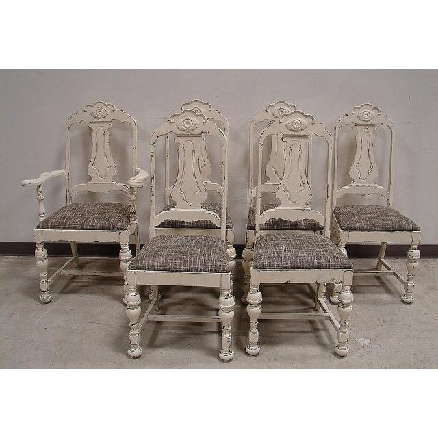Shabby Chic White Distressed Dining Chairs - S/6 - Image 2 of 5