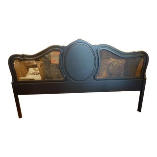 Vintage King Size Cane Headboard finished in Matte Black