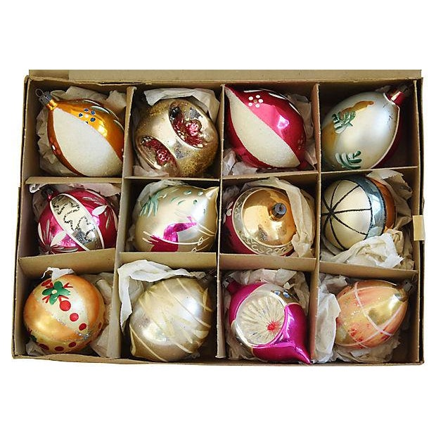 Hand Decorated European Christmas Ornaments w/Box - Set of 12 - Image 2 of 8