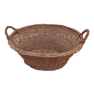 Early 20th Century French Market Woven Wicker Basket