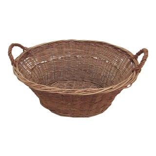 Early 20th Century French Market Woven Wicker Basket