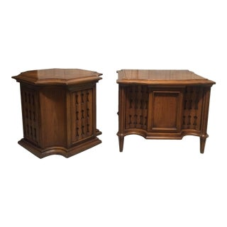 Carved Neo-Gothic End Tables - A Pair