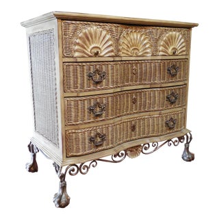 Block Front Chippendale Style Claw Footed Paint Distressed Shabby Chic Chest