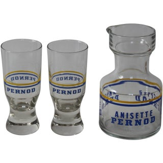 French Pernod Carafe & Glasses - Set of 3