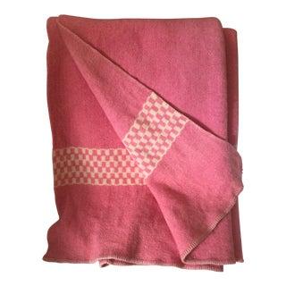 Vintage Boho Americana Pink Wool Blanket