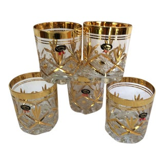 Vintage Crystal and Gold Lo-ball Glasses - Set of 5