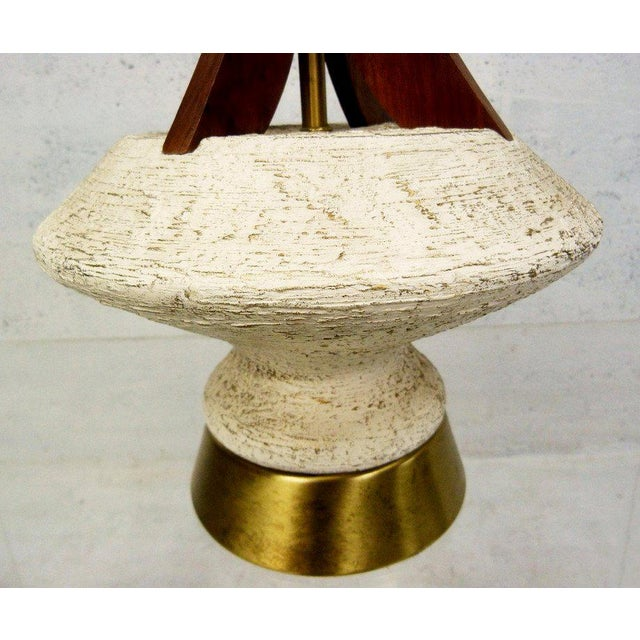 Plasto Teak and Chalkware Lamps - A Pair - Image 4 of 5