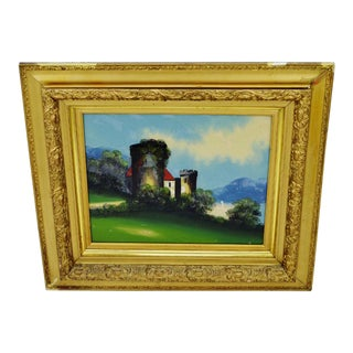Castle Scene Painted Glass with Gilt Gesso Frame