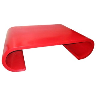 Chic Red Lacquer Scroll Coffee Table In The Manner Of Karl Springer