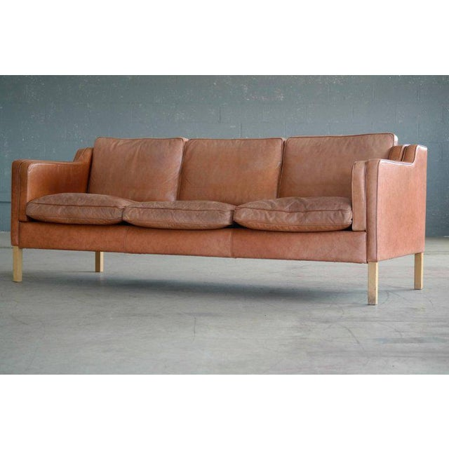 Børge Mogensen Style Sofa Model 2213 in Light Cognac Leather by Stouby Mobler - Image 4 of 10