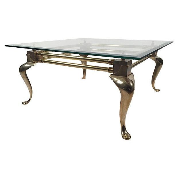 Square Brass Cabriole-Leg Coffee Table