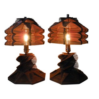 Folk Tramp  Art Popsicle Stick Lamps - A Pair