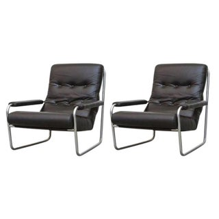 Black Leather and Chrome Arm Lounge Chairs - A Pair