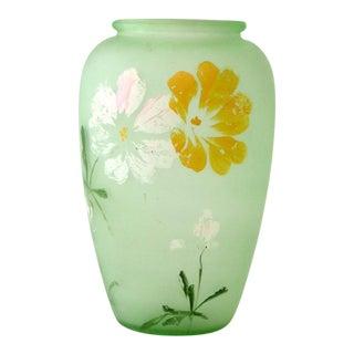 Depression Era Green Satin Glass Vase