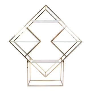 Brass Diamond Sculptural Etagere