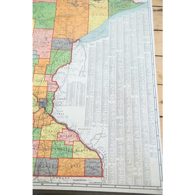 Antique Nystrom Pull Down Map of Minnesota - Image 7 of 9