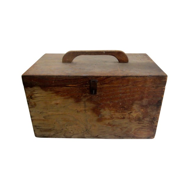Primitive Rustic Wood Trunk Chest Crate Tool Chest - Image 1 of 11