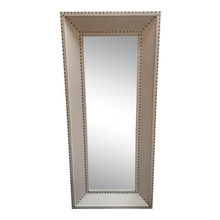 Rectangular Canvas Clad Wall Mirror With Nail Head Detaling