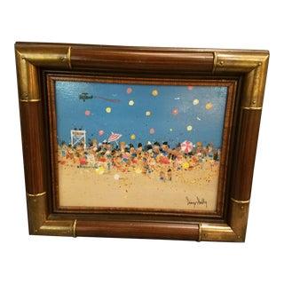 Mid-Century Beach Scene Original Oil Painting