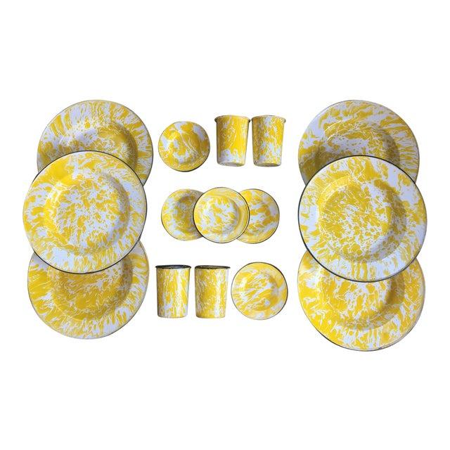 Vintage Yellow Enamelware - Set of 15 - Image 1 of 10