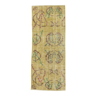 Yellow Vintage Turkish Deco Rug - 2′7″ × 6′8″