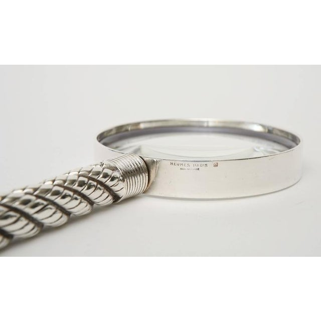 Hermes Vintage Silver-Plate Twisted& Braided Rope Magnifier/ Desk Magnifier - Image 7 of 11