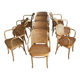 "Mid-Century Josef Hoffmann ""Prague"" 811 Cane & Bentwood Armchairs - Set of 10"