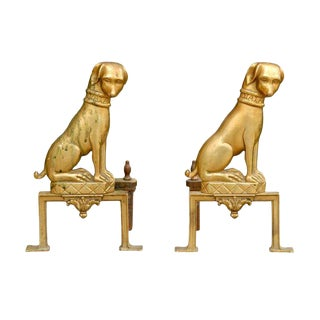 Mid-20th Century Pair of French Brass Dog Andirons
