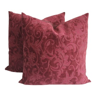 Contemporary Burgundy Pattern Velvet Pillows - A Pair