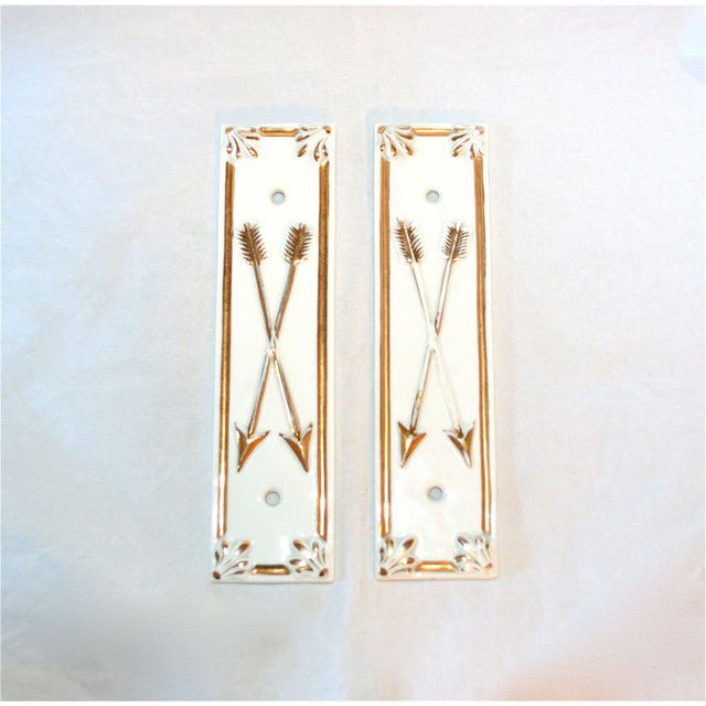 Limoges Golden Arrow Push Plates- A Pair - Image 2 of 9
