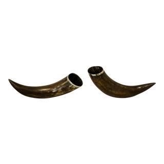 Antique Silver Rimmed Horns - A Pair