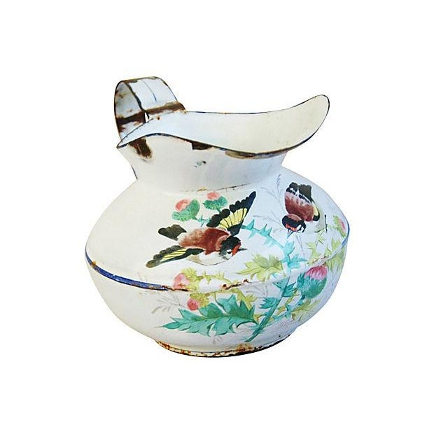 Antique 1930s French Painted Porcelain Pitcher - Image 1 of 6