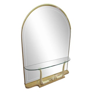 Arched Mirror with Built in Glass Shelf & Horn Motif
