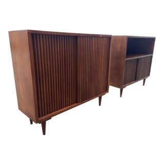 Danish Modern Beveled Bookcases - A Pair