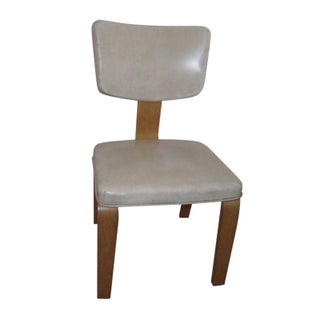 Vintage Ivory Vinyl and Birch Bentwood Chair