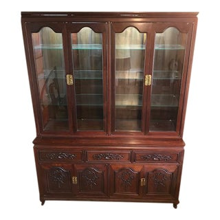 Queen Anne Rosewood Two Piece Hutch China Cabinet