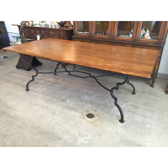 Plank Trestle Table With Iron Base - Image 5 of 10