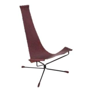 Pair of Dan Wenger Lotus Chair in Leather and Metal