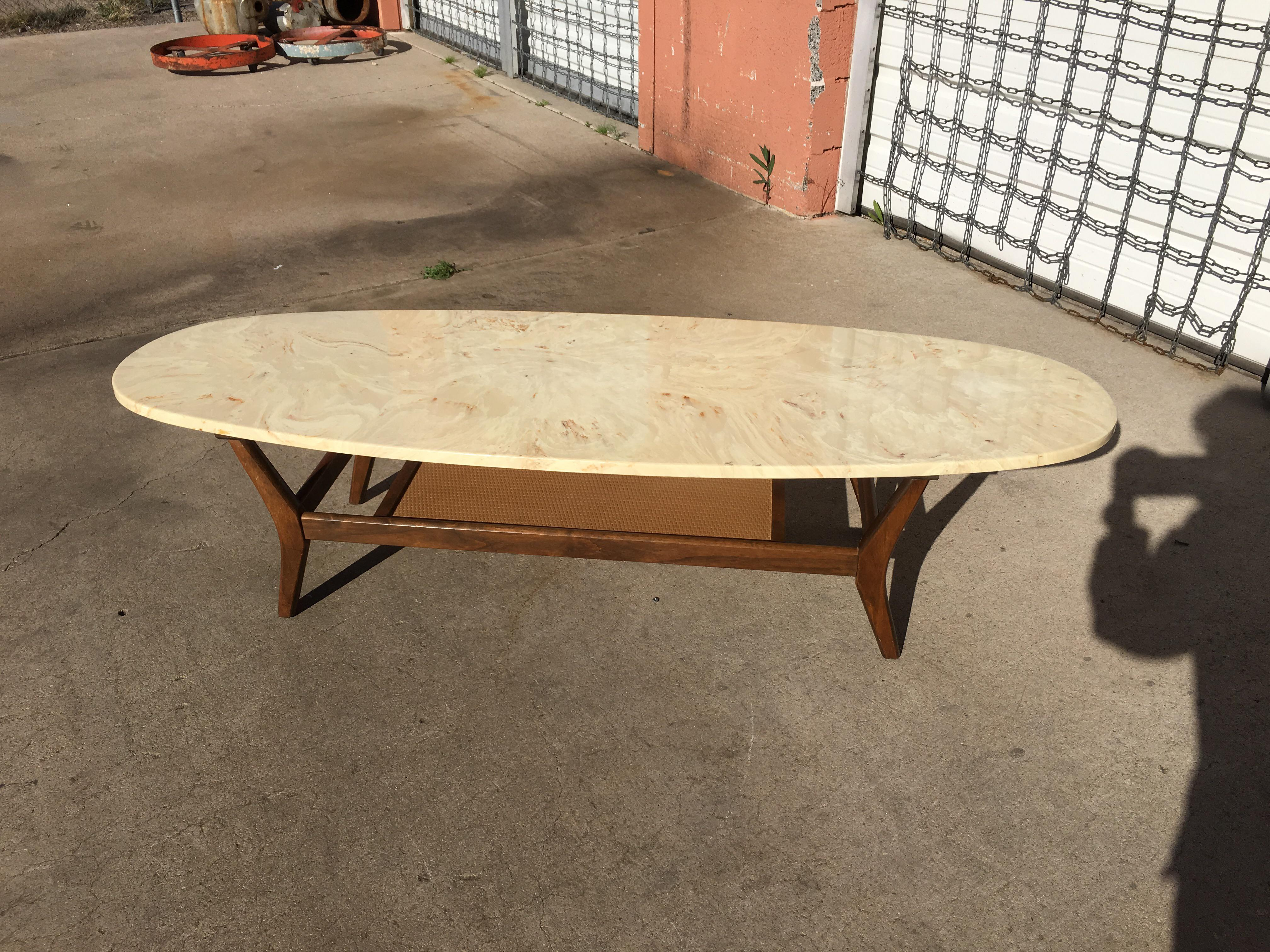 mid-century modern marble surfboard coffee table | chairish