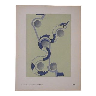 Serge Gladky Vintage Ltd. Ed. Abstracted Bird Pochoir Print, Circa 1928